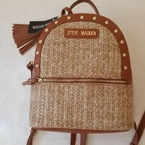 NWT Steve Madden Studded Straw Mini Backpack